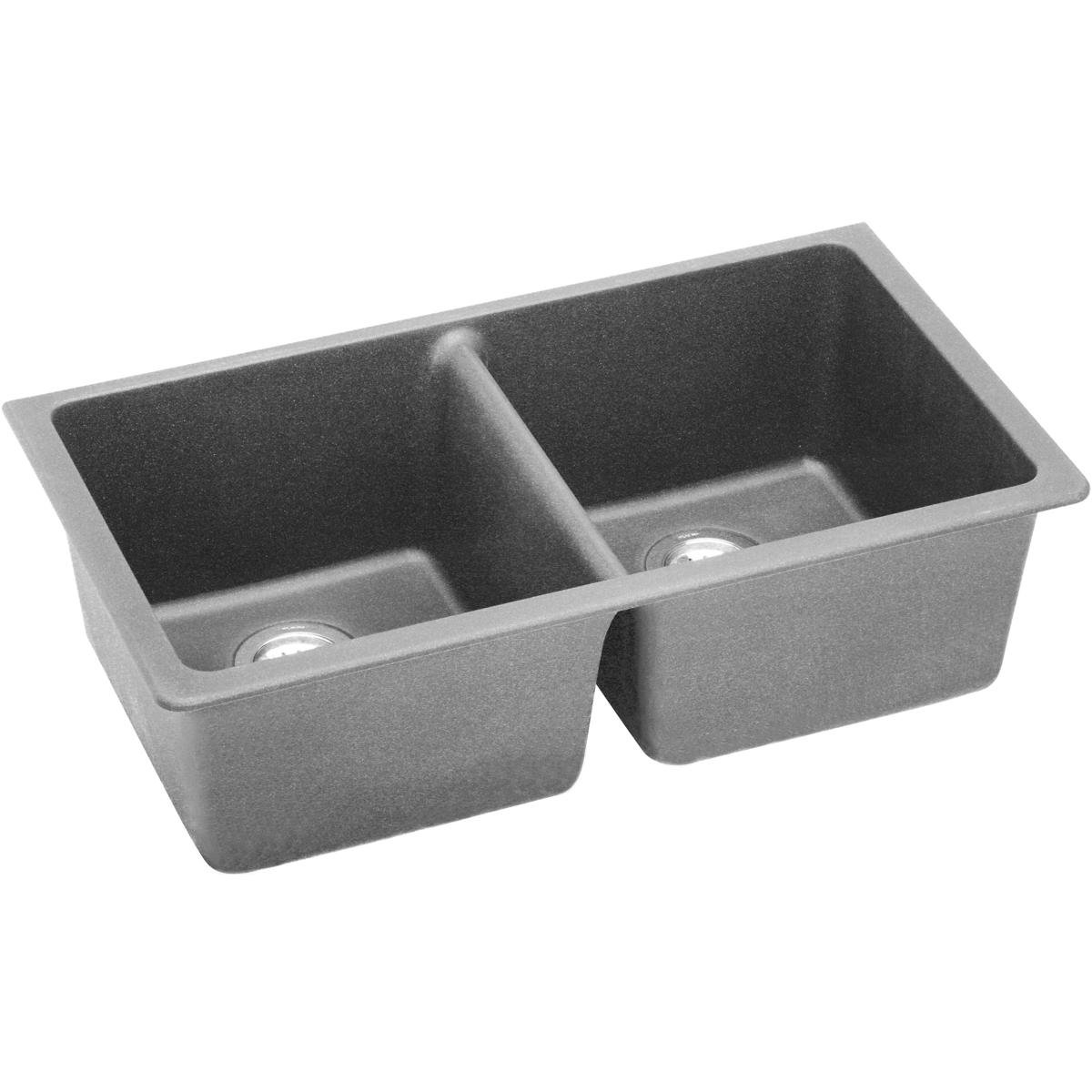 ELKAY ELGU3322GS0 QUARTZ CLASSIC 33' x 18-3/4' 9-1/2' EQUAL DOUBLE BOWL UNDERMOUNT SINK, GREYSTONE MC364796