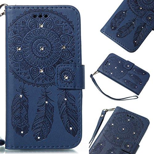 J7 V Case,J7 2017,J7 Sky Pro,DAMONDY 3D Glitter Diamond Dream Catcher Feather Stand Wallet Purse Card Holders Design Flip Cover TPU Soft Bumper PU Leather Magnetic for Samsung J7 V 2017-deep blue Diamond Sim Card