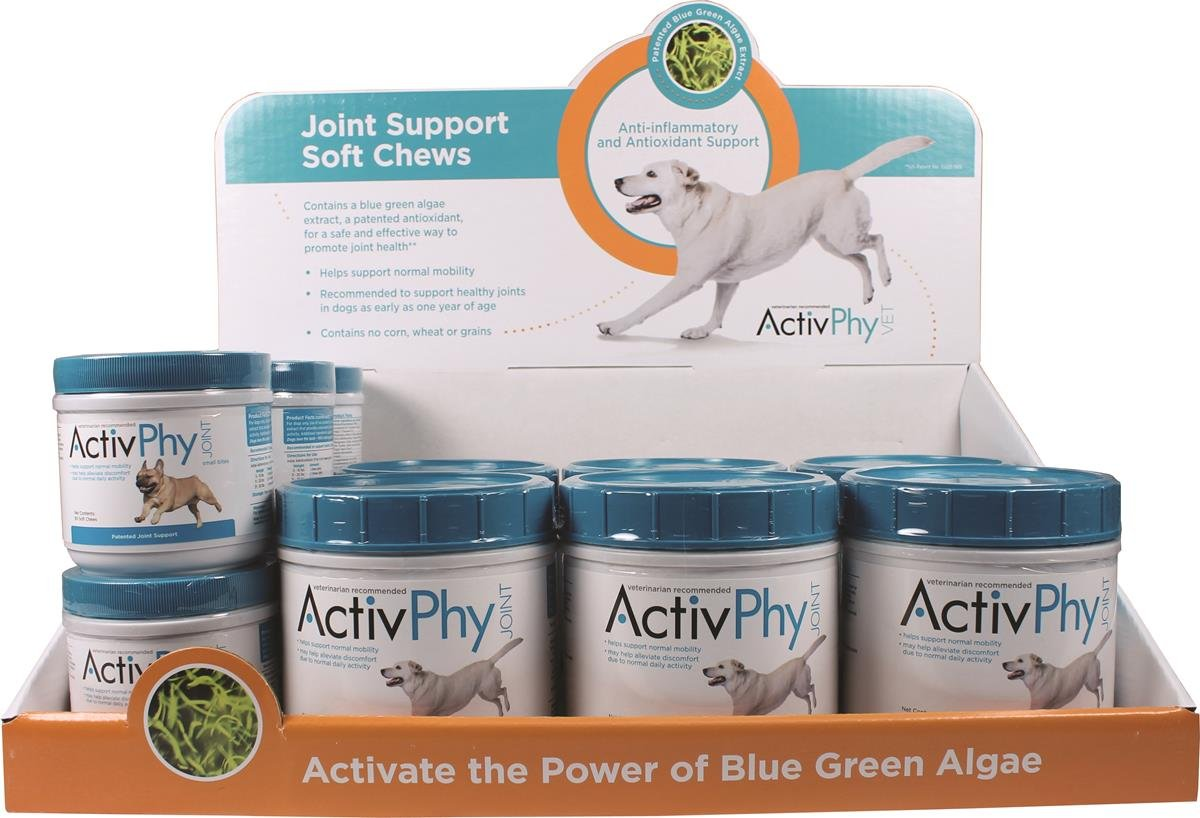 Activphy 7200453 12 Piece Soft Chews Joint Support for Dogs Display Beef Liver