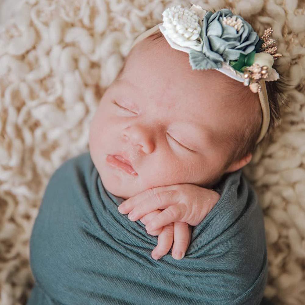 Shabby Nylon Fall Headband Newborn Headband Photo Prop Green Daisy Vintage-Inspired Floral Nylon Headband for BabyChildInfantGirls