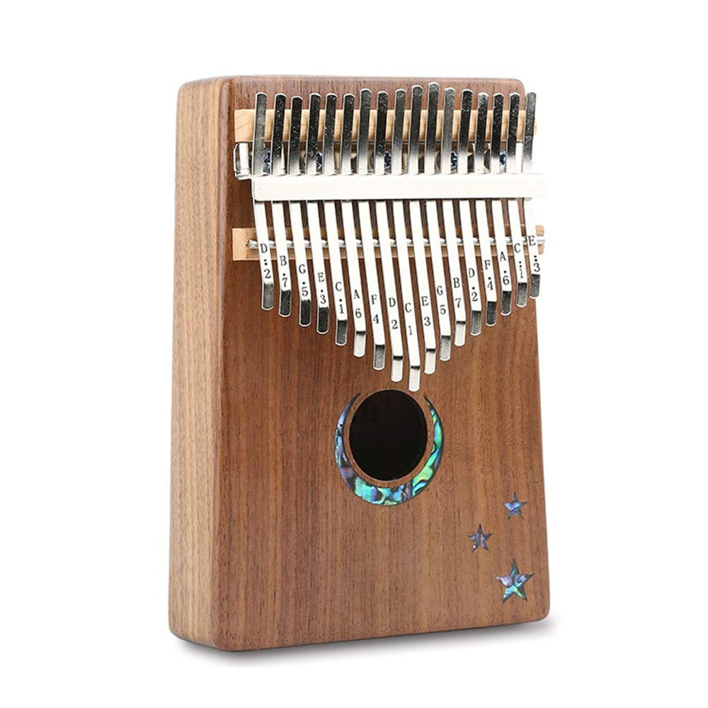 Thumb Piano Shiny Moon Stars Carving Walnut Wood Thumb Piano 17 Keys Kalimba Standard C Tune Finger Piano Metal Engraved Notation Tines With Tuning Hammer Pickup Carry Bag Kids Musical Instrument Gift