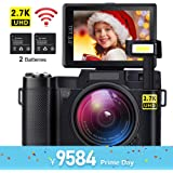 デジカメ デジタルカメラ 2400万画素 Wi-Fi 機能付き 軽量 自撮りカメラ 高画質 24MP 2.7K 1080P 3インチ180度回転スクリーン 2つの充電式電池付き