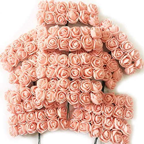 (Artfen Mini Fake Rose Flower Heads 144pcs Mini Artificial Roses DIY Wedding Flowers Accessories Make Bridal Hair Clips Headbands Dress Champagne-Pink)
