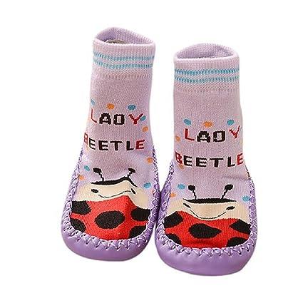 auxma Cartoon Kids infantil bebé antideslizante calcetines zapatos botas Zapatillas Calcetines (Morado) Talla: