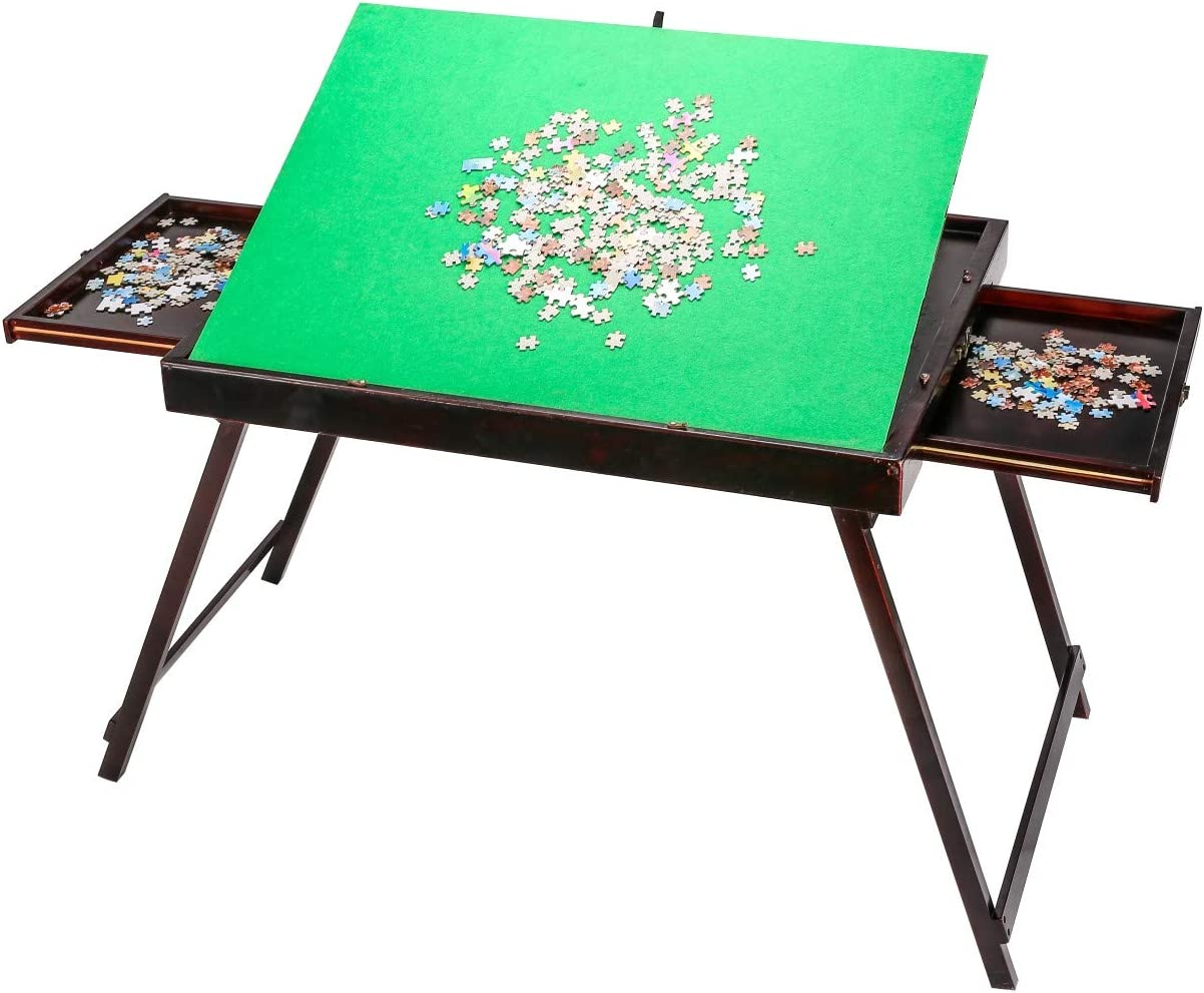 Folding Tilting Table for Puzzle Games 1500 Pieces Puzzles(Open Size 165x68x110cm H) Larger Wooden Portable Jigsaw Puzzle Table with Storage Two Drawers