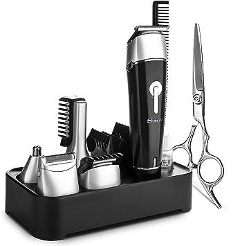 Cortapelos Profesional Hombre, NAVANINO Cortador de Pelo Recargable, Barbero Electrico Recortador de Barba y Precisión Afeitadora Corporal Cortapelos Narizy Orejas Máquina de Afeitar (6 EN 1): Amazon.es: Salud y cuidado personal