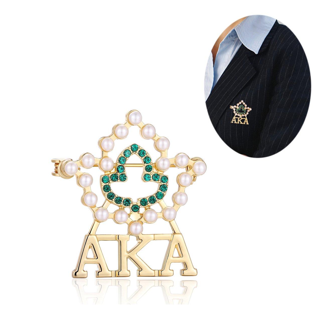 KINGSIN AKA Sorority Gifts, Vintage Crystal Pearl Brooch Gold Alpha Kappa Alpha Paraphernalia Graduation Gifts for Women