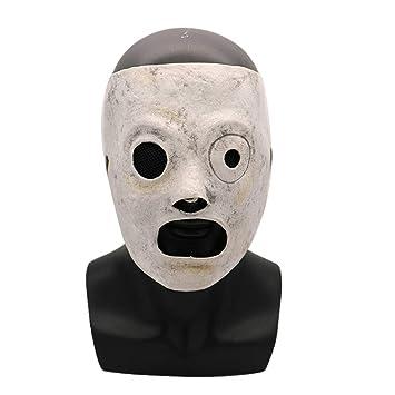 SonMo Máscara de Miedo de Halloween Halloween Mascara Ojo Asimetía Cara Blanca Cara Momia