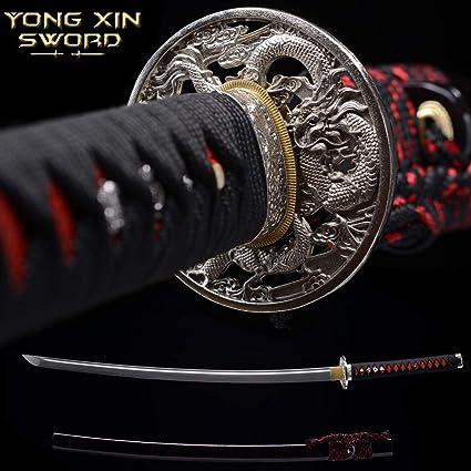YONG XIN SWORD-Samurai Katana Sword, Japanese Handmade, Practical, 1095 Carbon Steel, Tempered/Clay Tempered, Full Tang, Sharp, Scabbard