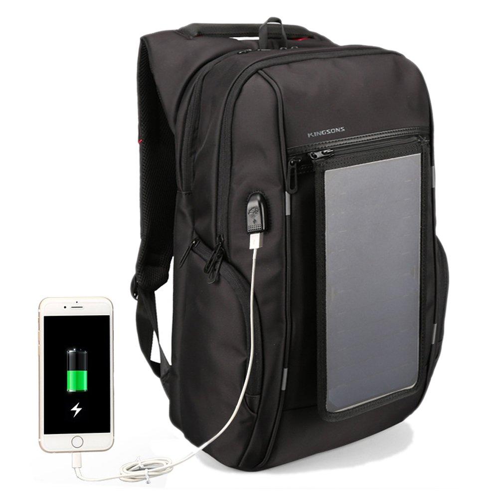 ソーラー充電板付 バックパック 盗難防止 USB充電ポート付き リュックサック 大容量 ビジネスリュック 多機能 アウトドア適用 着脱式ソーラーパネル搭載 B07C76YR3H