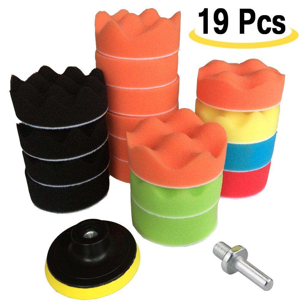 Amison - Set di dischi da 3' per lucidatrice da 19 pezzi, con spugne e dischetti in lana, con adattatore per trapano M10