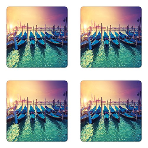 - Lunarable Landscape Coaster Set of 4, Italian Venice Scenery of Gondolas Venetian Canals Sea Sunset Image Art, Square Hardboard Gloss Coasters for Drinks, Turquoise Teal