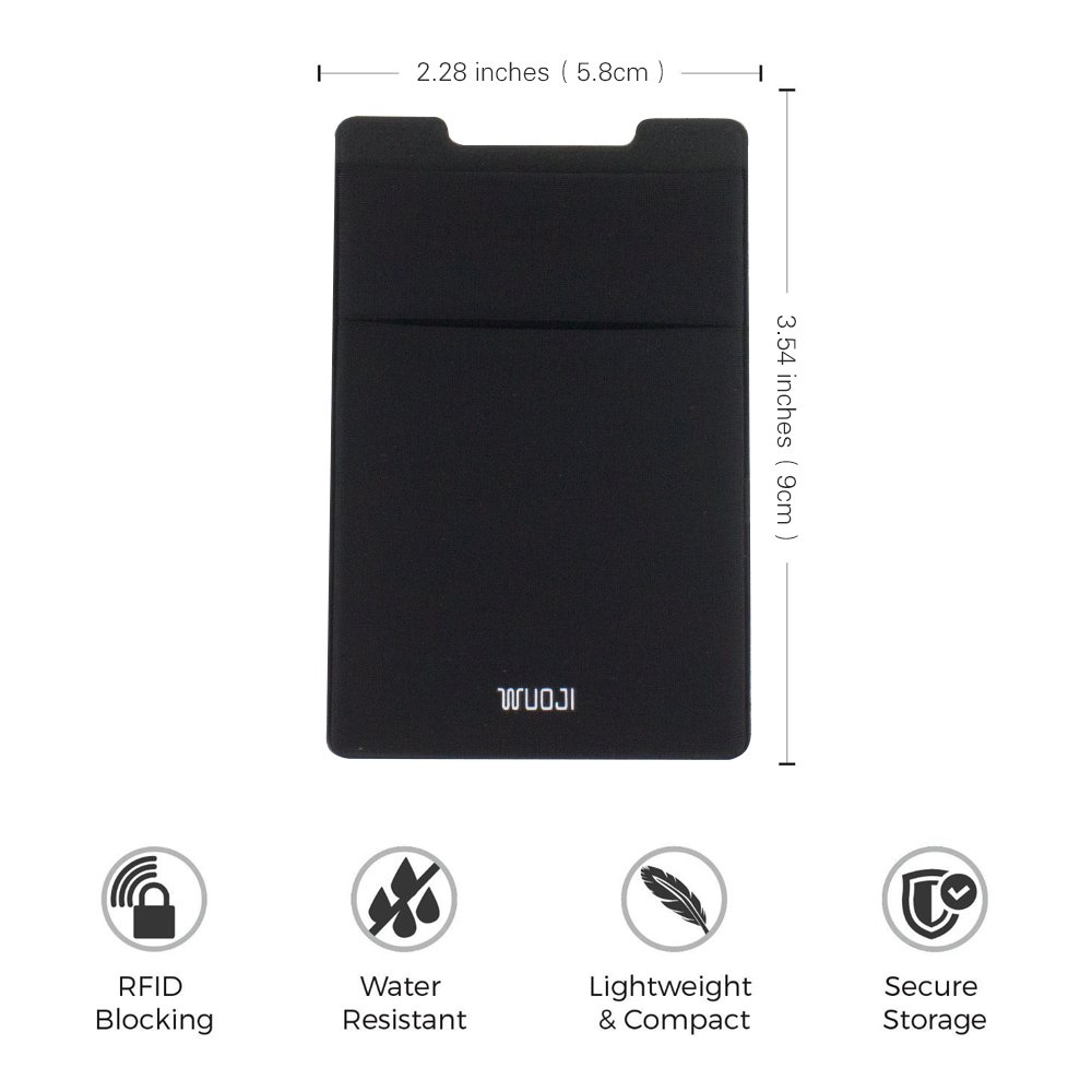 [2pc]RFID Blocking Phone Card Wallet - Double Secure Pocket - Ultra-slim Self Adhesive Credit Card Holder Card Sleeves Phone wallet sticker For All Smartphones(Black2) by WuoJI (Image #8)