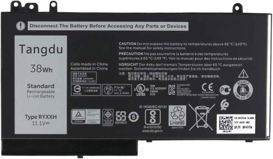 Tangdu RYXXH New Replacement Laptop Battery for dell Latitude 12 5000 E5250 Latitude 14 E5450 Latitude 15 E5550 Latitude 3150 3160 11.1v 38wh 3440mah 9P4D2 09P4D2 YD8XC 0YD8XC