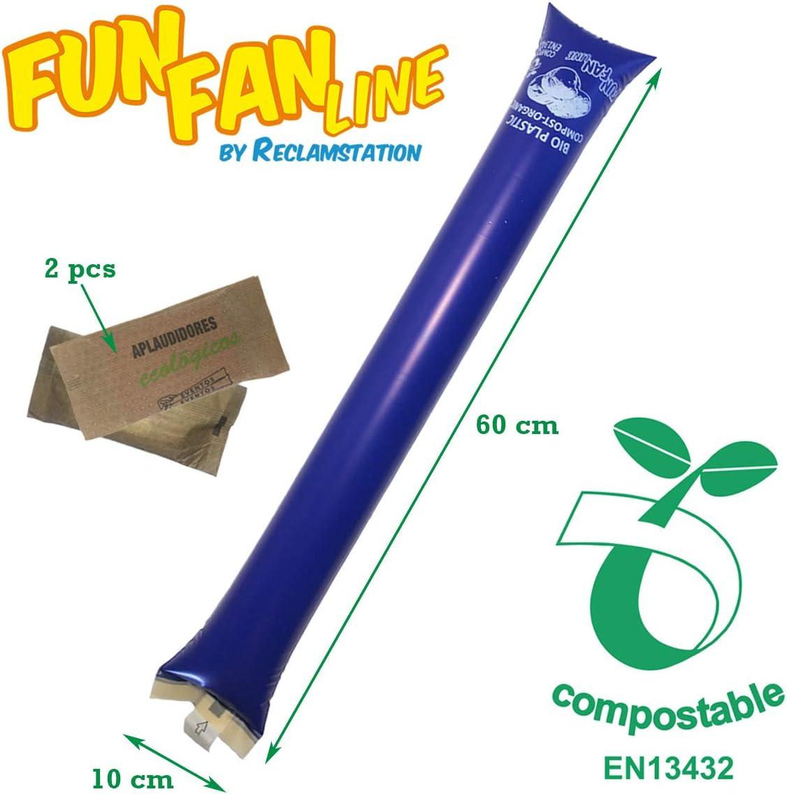10 Coppie di bastoni gonfiabili compostabili al 100/% ecologici FUN FAN LINE per Compleanni Feste ed Eventi Sportivi Bioplastica Organica ed rispettoso dellambiente.