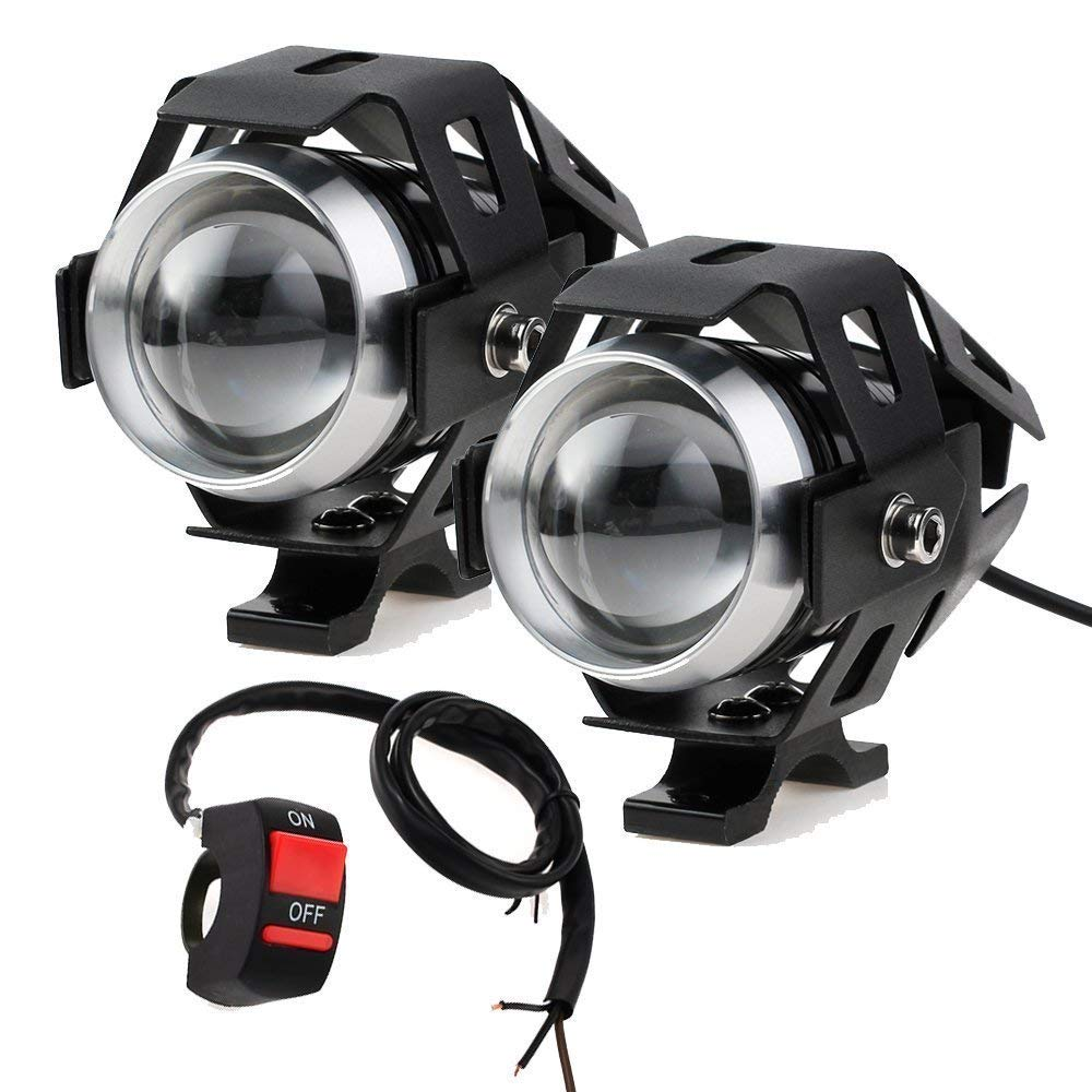 HANEU Motorcycle Headlights with Switch Motorcycle Front Spotlights 2 Piece 125W 3000LM CREE U5 LED Motorcycle Fog Lights with universal 3-button switch