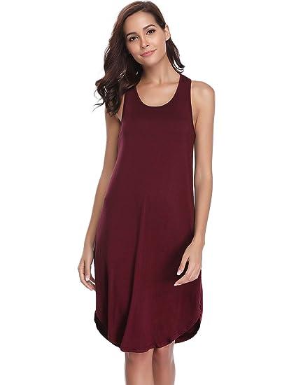 59ef32dad6 Aibrou Vestidos Mujer Elegante Algodon 2019 Vestido Verano Playa Camisón  Casuales sin Manga Moda y Comoda S-XXL  Amazon.es  Ropa y accesorios