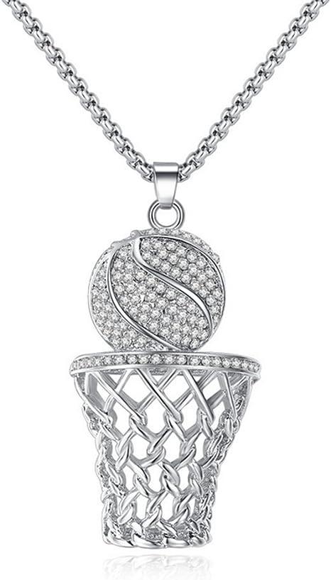 XJYA Collar De Caja Azul De Baloncesto, Acero Inoxidable, Diamante ...