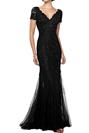 31a28bb53 GMAR Mermaid Short Sleeves Mother of The Bride Dresses Beaded Lace Evening  Gowns Black