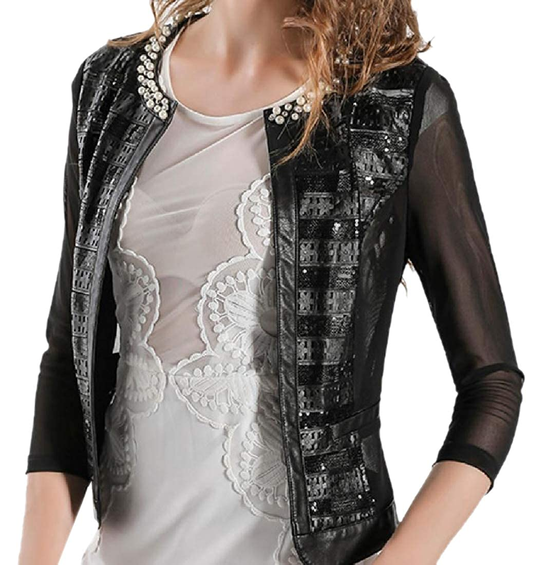 Black Spodat Women See Through Regular Fit Beaded Faux Leather Jackets
