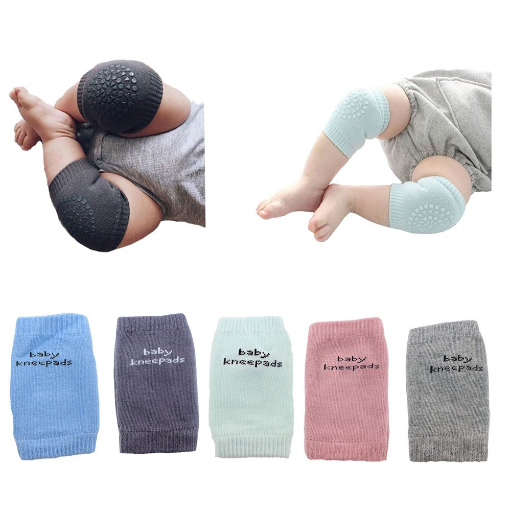 BOMPOW 5 Pairs Baby Knee Pads Crawling Knee Socks Anti-skip Kneepad Protector baby knee pads for crawling