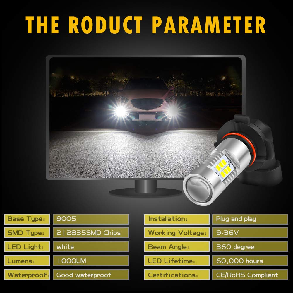 KaTur PSX24W LED Fog Light Bulbs Max 80W High Power Super Bright 2000 Lumens 6500K Xenon White with Projector for Driving Daytime Running Lights DRL or Fog Lights,12V Pack of 2 24V