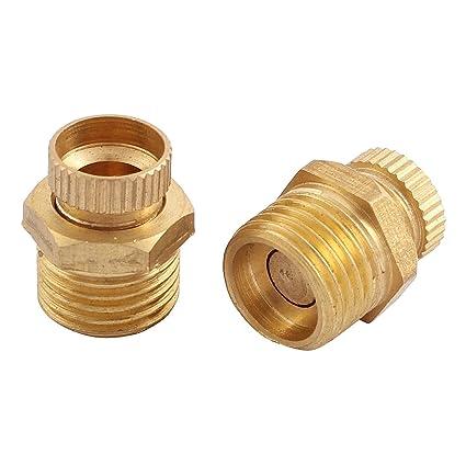 sourcingmap® Rosca macho de latón de la válvula de drenaje de agua de seguridad para
