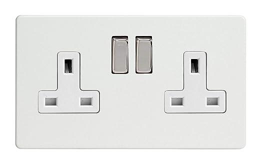 Varilight XDN5BS Screwless Satin Chrome 2 Gang Double 13A Switched Plug Socket