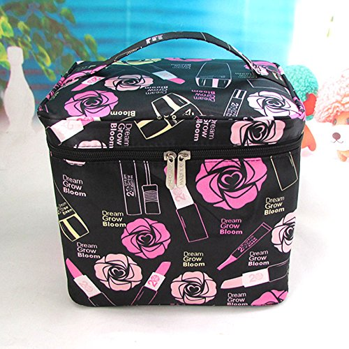 LULAN Cosmetic Bag cute tote extra large waterproof multifunction portable admission packet,202420cm, extra large black lipstick