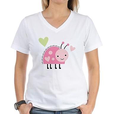 7e47cbe2bf97de Amazon.com  CafePress - Pink Ladybug Women s V-Neck T-Shirt - Womens ...