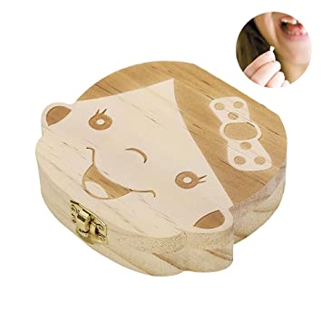 Wooden Tooth Storage Box Childs Baby First Tooth Keepsake Teeth Save Organizer
