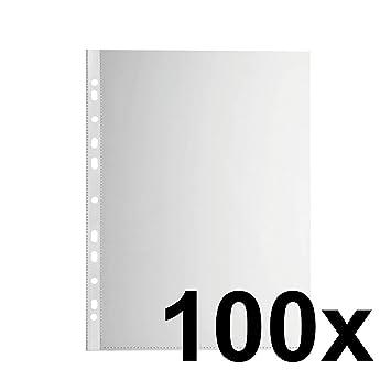 Falken Das Original 100er Pack Economy PP-Kunststoff Prospekthüllen für DIN A4 transparent genarbt oben offen Klarsichtfolie