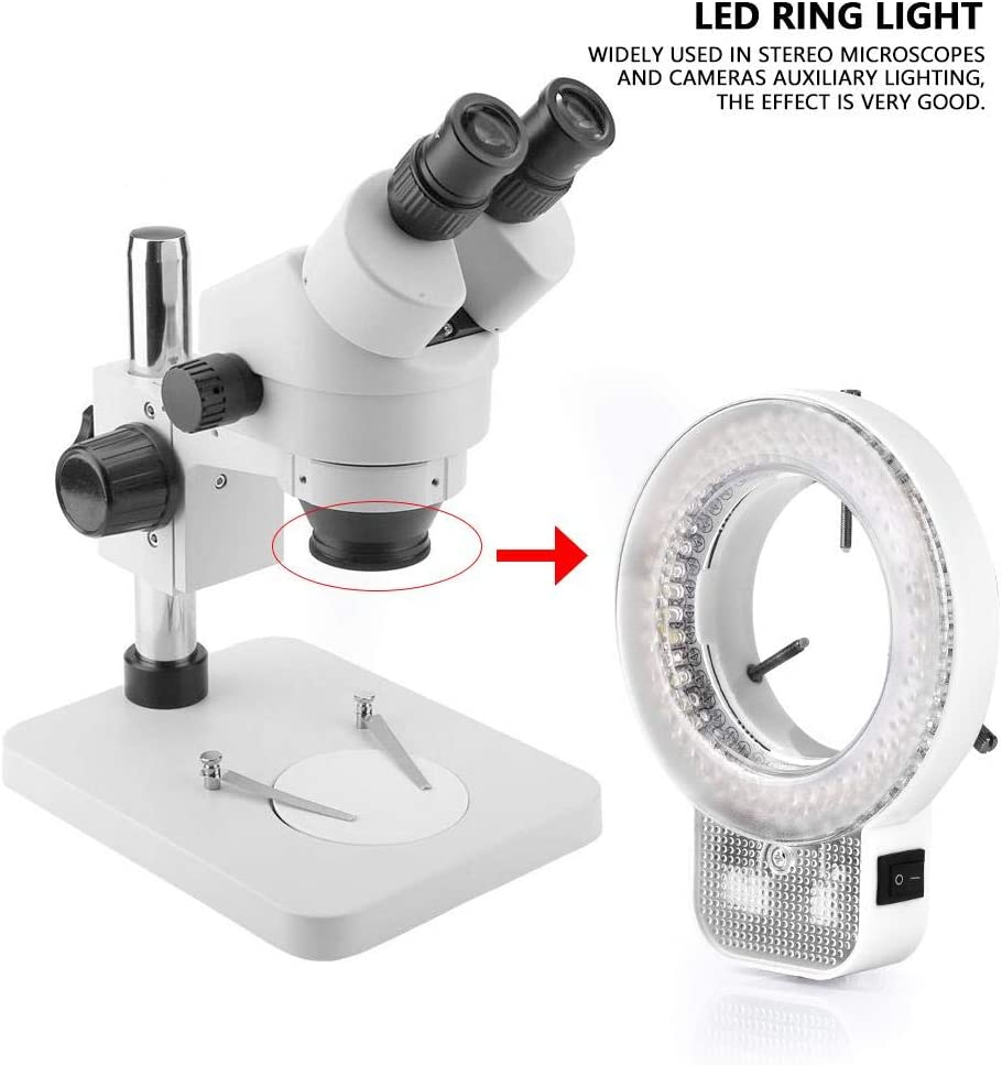 Yencoly LED Ring Light Kit,Microscope Camera 144 LED Beads Light Source Brightness Adjustable Ring Lamp Photography LED Ring Light US