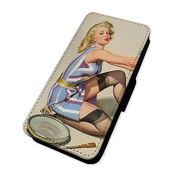 Retro Sexy chica Pin Up - Funda con tapa tipo cartera funda tarjeta soporte Sony Xperia Z3 PLUS: Amazon.es: Electrónica