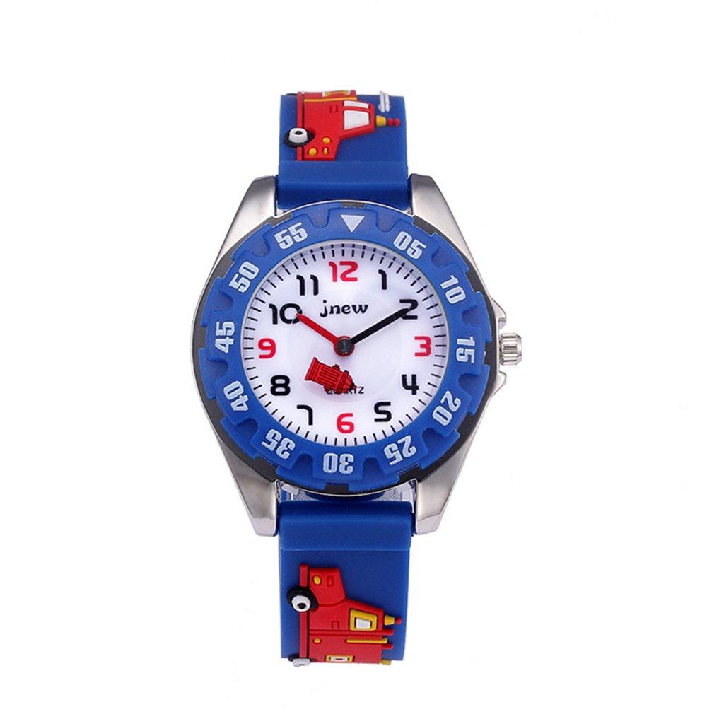 Kid Watch 3D Cute Cartoon Silicone Wristwatches Quartz Watch 30M Waterproof Time Teacher Gift for Little Girls Boy Children (Fire Truck, Blue)