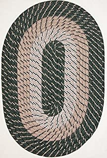"product image for Plymouth 8'6"" x 11'3"" (102"" x 135"") Oval Braided Rug in Hunter Green Made in USA"