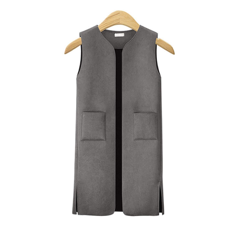 Giles Abbot XL-5XL Plus Size Waistcoat for Women Autumn Streetwear Style Suede Long Vest Gray XXL