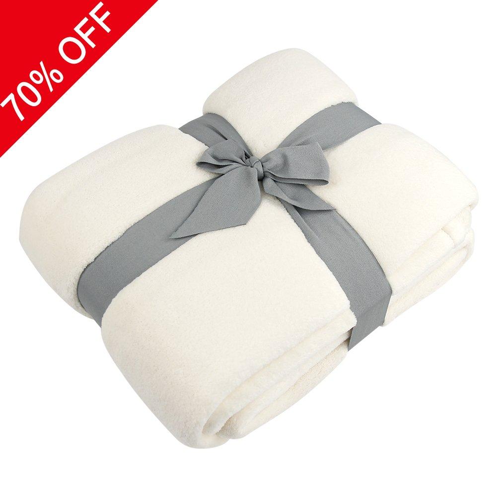 Somewhere Fleece Blanket Soft, Coral Fleece Plush Throw TV Blanket, Cozy 100% Polyester Alta Luxury Hotel Fleece Blanket-Queen Comforter Cream-Protects Against Dust Mites and Allergens