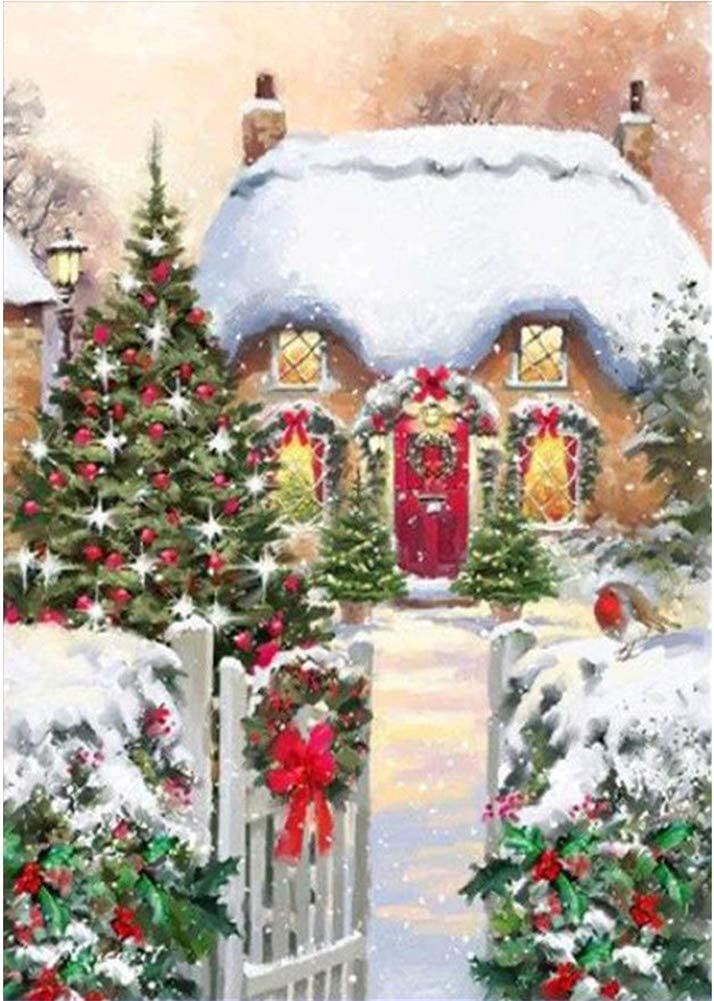 5D DIY Diamond Painting Paint by Numbers Kits for Adult Aurora Snow View House 30x40cm Full Drill Diamond Embroidery Paintings Pictures Arts Craft for Home Decoration