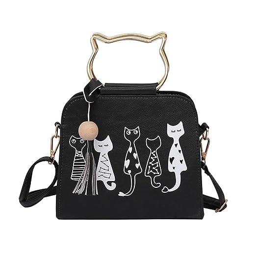 63c0d0bad96d Leegor Women Cat Pattern Tassel Crossbody Bag Shoulder Bag Handbags  Messenger Bag (Black)
