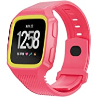 for Fitbit Versa Bands, Ausexy Rugged Wristbands with Protective Case Silicone Fitness Sport Wrist Strap Bands for Fitbit Versa Watch