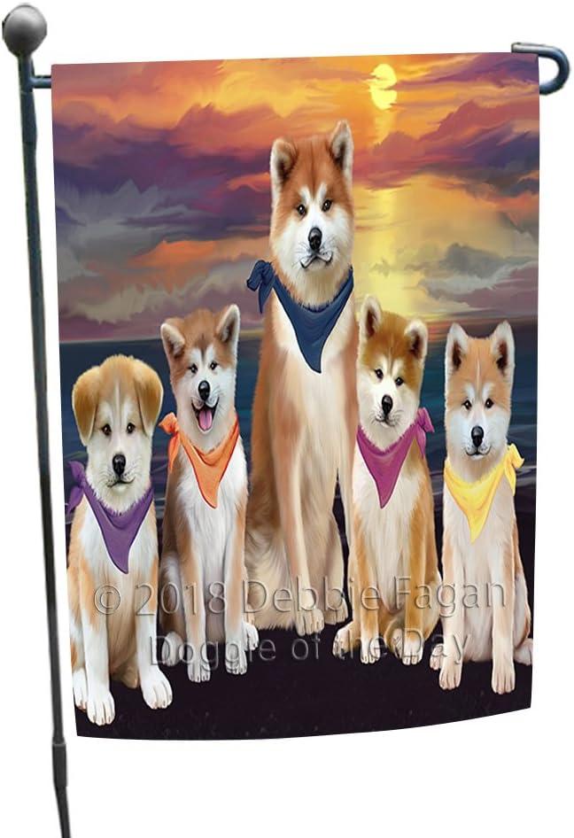 Doggie of the Day Family Sunset Portrait Akitas Dog Garden Flag GFLG52421