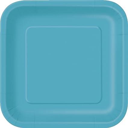 Square Teal Paper Plates 14ct  sc 1 st  Amazon.com & Amazon.com: Square Teal Paper Plates 14ct: Kitchen \u0026 Dining