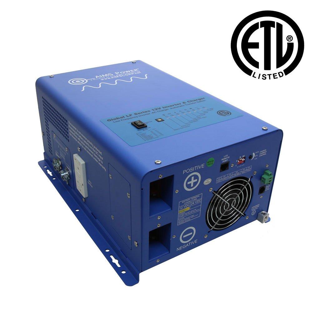 AIMS Power 2000 Watt 12V Pure Sine Inverter Charger w/6000W Surge ETL Certified to UL 458