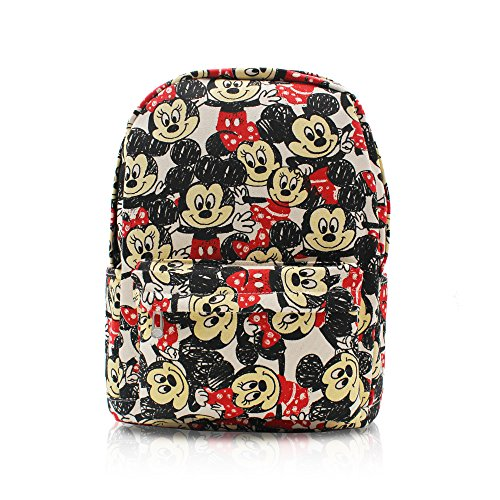 (Finex Mickey Mouse and Minnie Mouse White Canvas Classic Cartoon Casual Backpack with 15 inch Laptop Storage Compartment for Children Kids Student School Daypack Travel Sport Book)