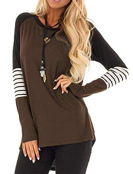 1fe57e9e73 Women's Long Sleeve Loose Tunic T Shirts Casual Blouses Tops at Amazon  Women's Clothing store: