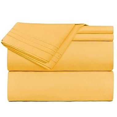 Nestl Bedding 4 Piece Sheet Set - 1800 Deep Pocket Bed Sheet Set - Hotel Luxury Double Brushed Microfiber Sheets - Deep Pocket Fitted Sheet, Flat Sheet, Pillow Cases, Cal King - Yellow