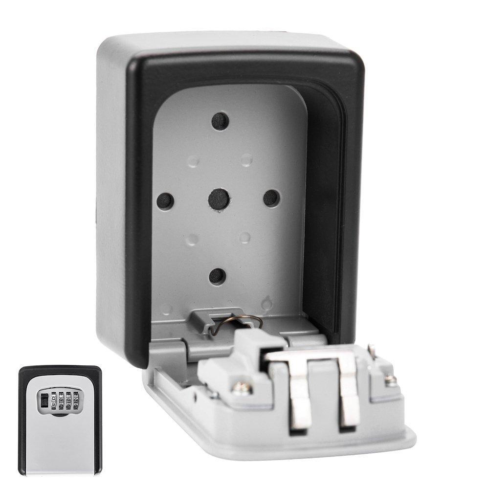 enjoygousキーストレージロックボックス、4桁組み合わせキーセーフロックボックス、壁マウントホルダーケースオーガナイザー、リセット可能コード高セキュリティのホーム、オフィス、アウトドア、Rustproof ブラック B07BGSRPNZ  2パック