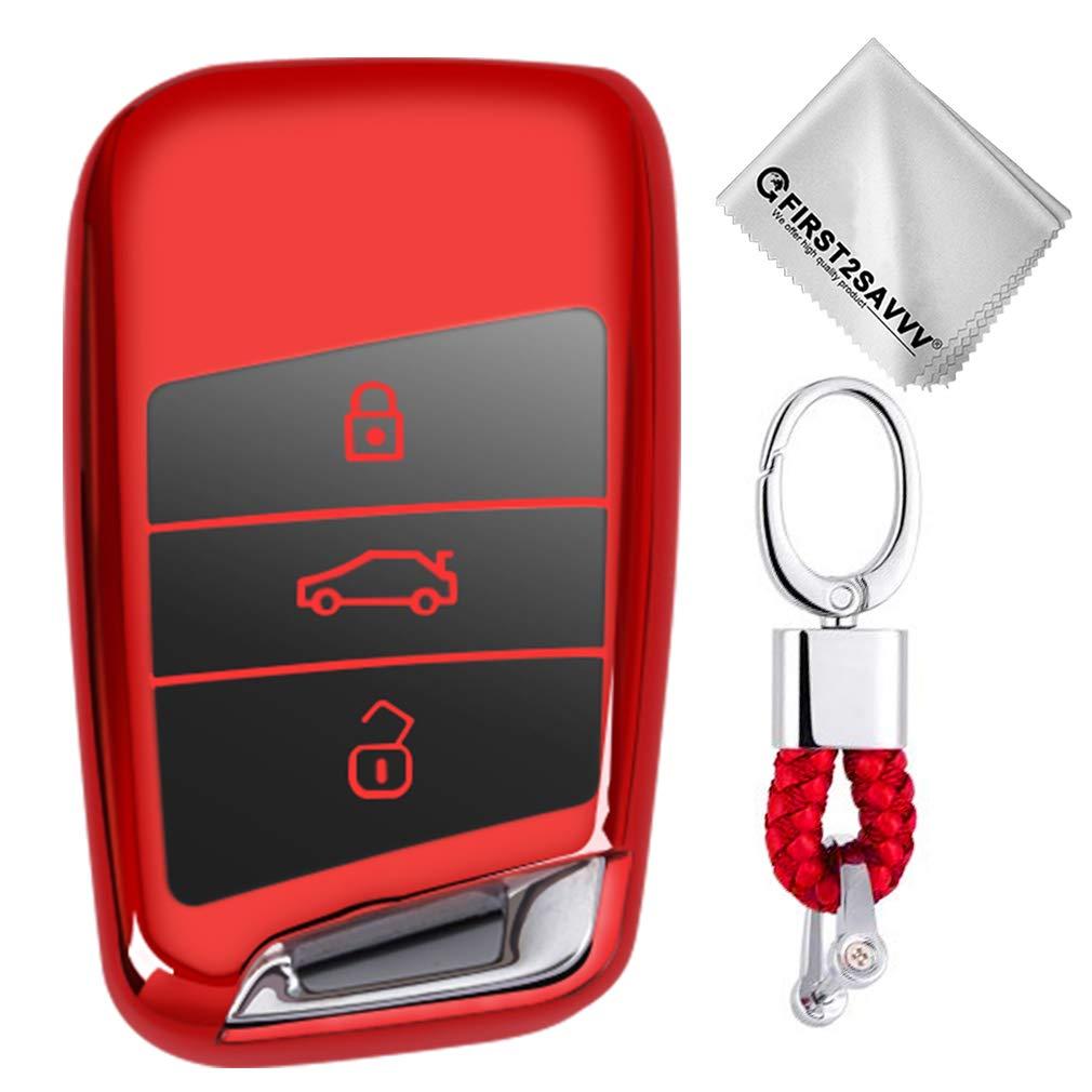 Suave Silicona de Plata Funda para Llave Smart Key para Coche VW Volkswagen Tiguan MK2 Passat B7 B8 CC 2017 2018 Skoda Superb A7 Carcasa Protectora
