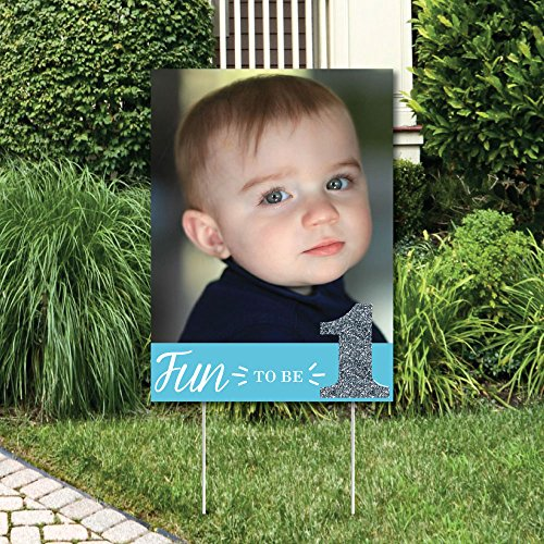 Big Dot of Happiness Custom 1st Birthday Boy - Fun to Be One - Photo Yard Sign - First Birthday Party ()
